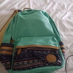 Handbags - Backback vans aqua with aztec cloth print